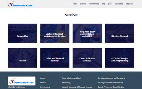 "Screenshot of Services Page proviatek.com - Services | An ""insourcing"" IT firm, - captured Nov. 11, 2018"