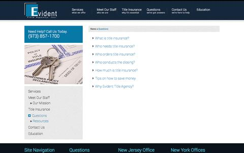 Screenshot of FAQ Page evidenttitle.com - Questions | Evident Title Agency - captured Nov. 11, 2016