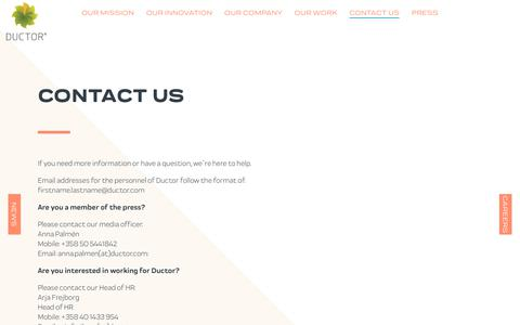 Screenshot of Contact Page ductor.com - Contact Us - Ductor - captured Nov. 14, 2018