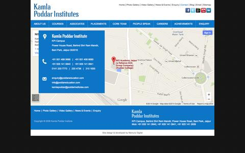 Screenshot of Contact Page poddareducation.com - Contact Us - captured Nov. 3, 2014