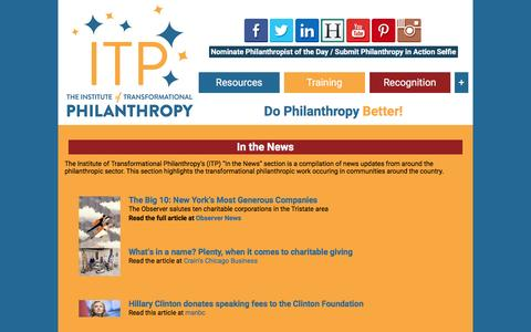 Screenshot of Press Page instituteoftransformationalphilanthropy.com - In the News  |  Institute of Transformational Philanthropy - captured Jan. 30, 2016