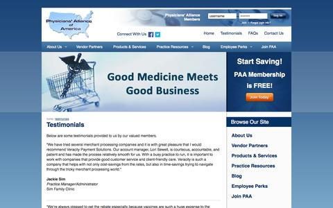 Screenshot of Testimonials Page physall.com - Testimonials | Physicians' Alliance of America - captured Oct. 2, 2014