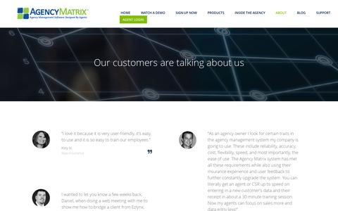 Screenshot of Testimonials Page agencymatrix.com - Testimonials - captured July 25, 2016