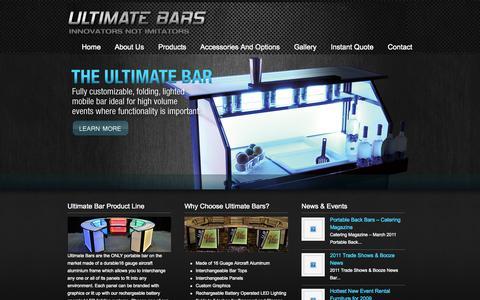 Screenshot of Home Page ultimatebars.com - Ultimate Bars Portable Folding LED Lighted Beverage Bars Custom Portable LED  Bars | Ultimate Bars - captured Sept. 30, 2014