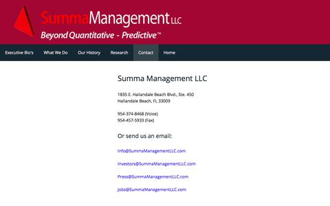 Screenshot of Contact Page summamanagementllc.com - Summa Management LLC - Analyses & Interviews - captured June 17, 2017