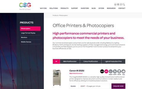 Screenshot of Products Page csg.com.au - Office Printers & Commercial Photocopiers for Sale | CSG - captured July 10, 2017