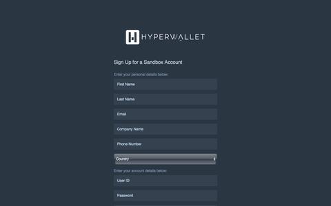 Screenshot of Signup Page hyperwallet.com - Register - Hyperwallet Program Portal - captured Nov. 16, 2016