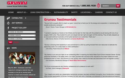 Screenshot of Testimonials Page grunau.com - Grunau Testimonials | Grunau Company, Inc. - captured Oct. 3, 2014