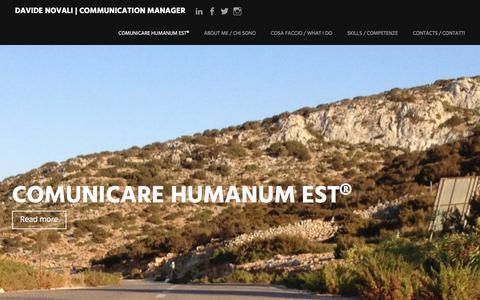 Screenshot of Home Page davidenovali.com - davide novali | communication manager | comunicare humanum est - captured Jan. 10, 2016