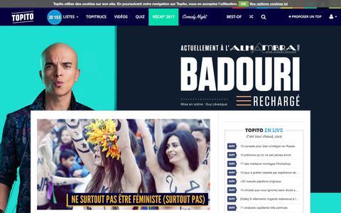 Screenshot of Home Page topito.com - Topito : top listes et classements - humour, insolite, utile, et découverte ! - captured Jan. 25, 2018