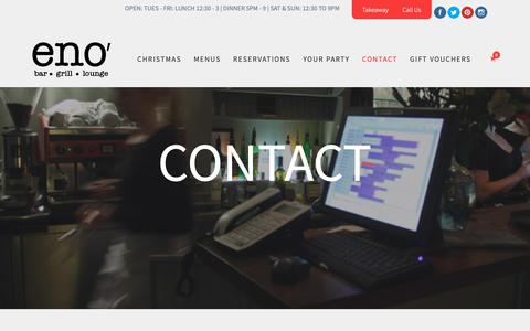 Screenshot of Contact Page eno.ie - Contact Us | Eno' Bar & Grill Dundalk | Call us 042 9355467 - captured Nov. 5, 2018