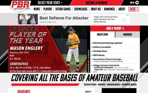 Screenshot of Home Page prepbaseballreport.com - Prep Baseball Report - captured July 21, 2018