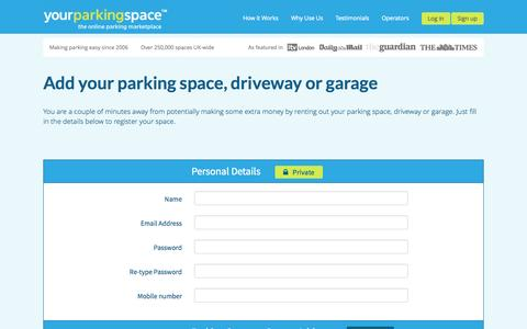 Screenshot of Signup Page yourparkingspace.co.uk - YourParkingSpace - captured Sept. 19, 2014
