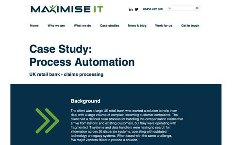 Screenshot of Case Studies Page maximiseit.co.uk - Process Automation Case Study - Maximise IT Solutions - captured Oct. 24, 2018