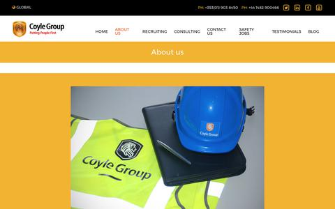 Screenshot of About Page coyle-group.com - Putting People First - Health and Safety Recruiting and Consulting Agency | Coyle Group - captured Sept. 6, 2017