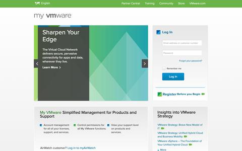Screenshot of Login Page vmware.com - My VMware - Get Personalized Support Quickly and Easily | VMware Support - captured Feb. 10, 2019