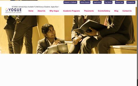 Screenshot of About Page voguefashioninstitute.com - Top Fashion Designing Institutes in Bangalore, India | Fashion Designing Colleges | VIFT - captured June 18, 2019