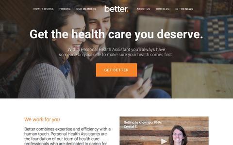 Screenshot of Home Page getbetter.com - Home - captured Sept. 10, 2015