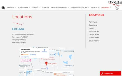 Screenshot of Locations Page bettervision.net - Eye Doctors South Florida | Ophthalmologists South FL | Frantz - captured Nov. 7, 2019