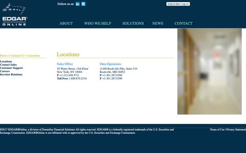 Screenshot of Contact Page Locations Page edgar-online.com - Edgar Online - captured Sept. 25, 2018