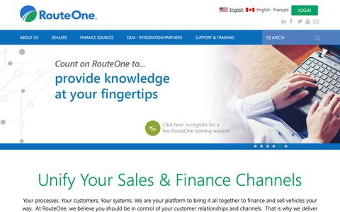 Screenshot of Home Page routeone.com - RouteOne | Unify Your Sales and Finance Channels - captured Jan. 22, 2018