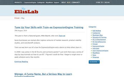 Screenshot of Blog ellislab.com - Blog /EllisLab - captured Sept. 19, 2014