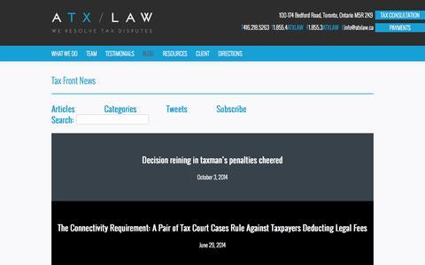 Screenshot of Blog atxlaw.ca - Blog - ATX Law - captured Oct. 29, 2014