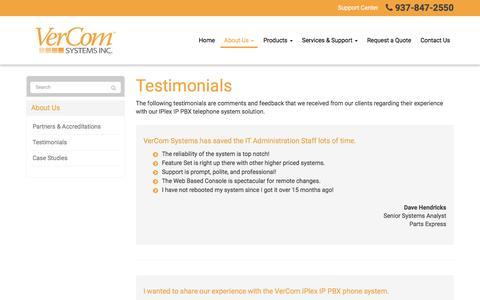 Screenshot of Testimonials Page vercomsystems.com - Testimonials - Dayton, Kettering, Beavercreek | VerCom Systems, Inc. - captured Nov. 29, 2016