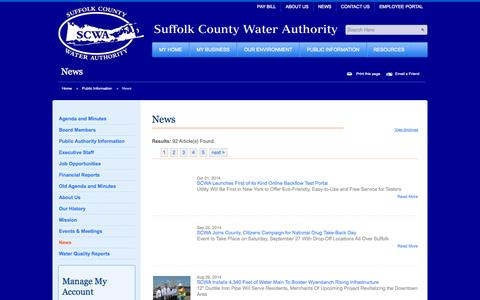 Screenshot of Press Page scwa.com - News | News | Suffolk County Water Authority - captured Oct. 7, 2014