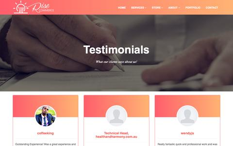Screenshot of Testimonials Page risecommerce.com - Rise Commerce Reviews / Testimonials | eCommerce Services Review - captured Oct. 22, 2018