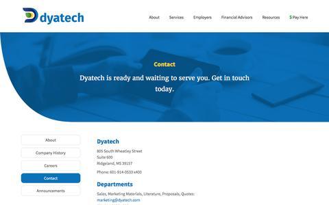 Screenshot of Contact Page dyatech.com - Contact - Dyatech - captured Nov. 24, 2016