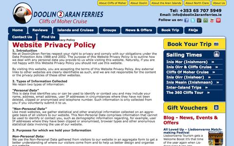 Screenshot of Privacy Page doolin2aranferries.com - Doolin2Aran Ferries Website Privacy Policy  | Doolin2Aran Ferries - captured Sept. 22, 2014