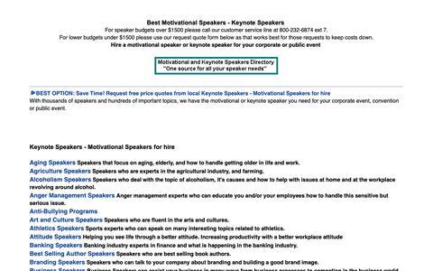 Screenshot of Home Page keynote-speakers-motivational-speaker.com - Motivational Speakers and Keynote Speakers - captured Oct. 23, 2018