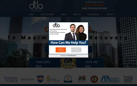 Screenshot of Home Page downtownlalaw.com - Downtown LA Law group - Personal Injury Lawyers in Los Angeles - captured Sept. 27, 2018