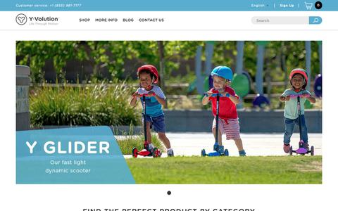 Screenshot of Home Page yvolution.com - Y Volution Scooter | Y Fliker | Y Glider | Kids Scooter | Balance Bike - captured Oct. 9, 2018