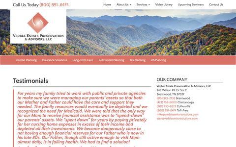 Screenshot of Testimonials Page verbleseniorsolutions.com - Testimonials - Verble Estate Preservation & Advisors, LLC - captured Dec. 12, 2016