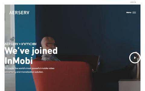 Screenshot of Home Page aerserv.com - AerServ - Free Mobile Adserving & Mediation Platform for Mobile Video - captured Jan. 12, 2018