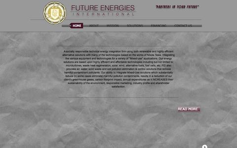 Screenshot of Home Page futureenergiesintl.com - fei- - captured Sept. 30, 2014