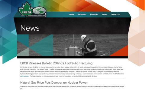 Screenshot of Press Page iescorp.ca - Independent Energy Solutions Corp. - News - captured Oct. 6, 2014