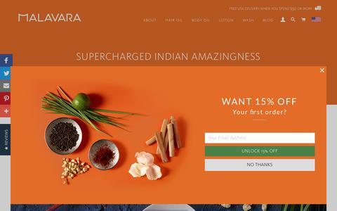 Screenshot of About Page malavara.com - About: Supercharged Indian Amazingness – Malavara - captured July 25, 2018