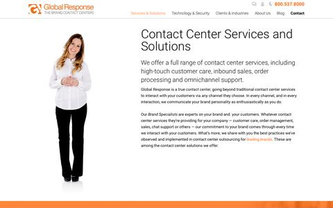 Screenshot of Services Page globalresponse.com - Contact Center Solutions | Contact Center Services - Global Response - captured Aug. 20, 2019