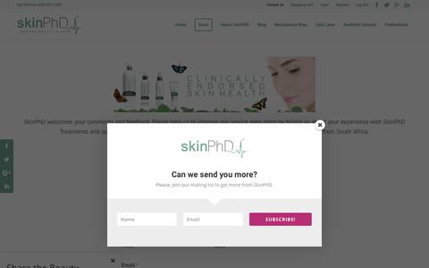 Screenshot of Contact Page skinphd.com - Contact Us ~ SkinPhD.com - captured Oct. 18, 2018