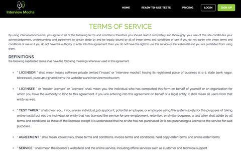 Screenshot of Terms Page interviewmocha.com - Online assessment software for IT, technical recruitment - captured Sept. 30, 2014
