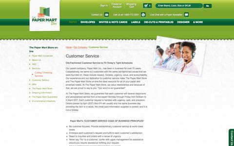 Screenshot of Support Page thepapermartstore.com - Customer Service - captured Nov. 5, 2014