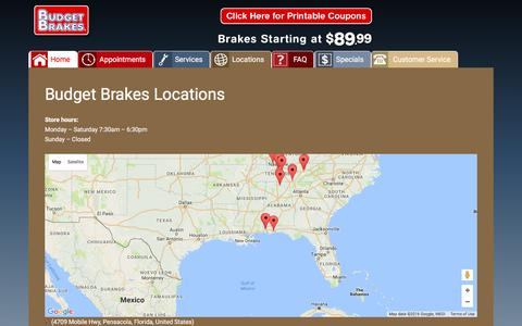 Screenshot of Locations Page budgetbrakes.com - Locations - captured July 30, 2016
