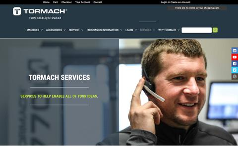 Screenshot of Services Page tormach.com - Services - Tormach Inc. - captured Sept. 21, 2018