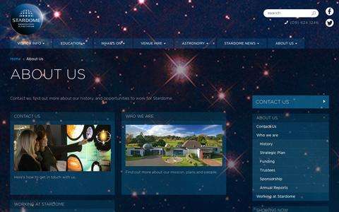 Screenshot of About Page stardome.org.nz - About Us | Stardome Observatory & Planetarium - Auckland, New Zealand - captured Oct. 7, 2014
