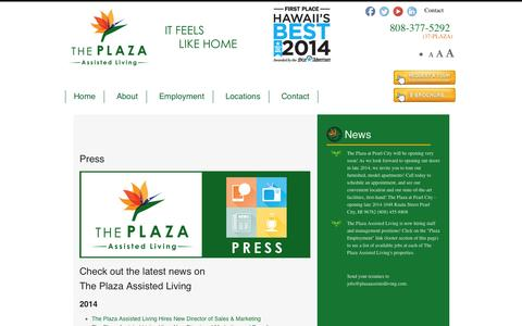 Screenshot of Press Page theplazaassistedliving.com - Press - The Plaza Assisted Living - captured Oct. 9, 2014