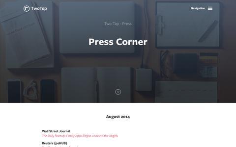 Screenshot of Press Page twotap.com - Press Corner - captured Sept. 22, 2014