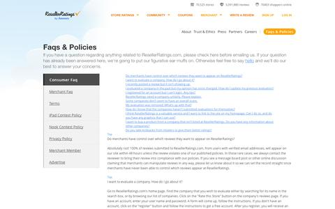Screenshot of Privacy Page FAQ Page Terms Page resellerratings.com - Frequently Asked Questions | ResellerRatings.com - captured Sept. 18, 2014